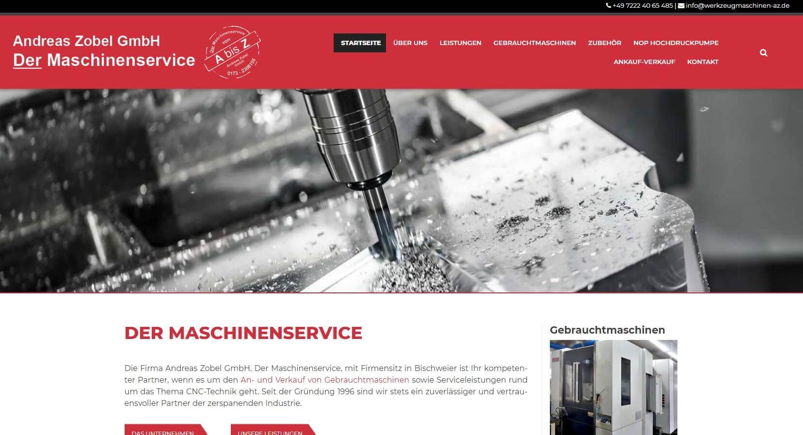 Screenshot Werkzeugmaschinenservice Zobel