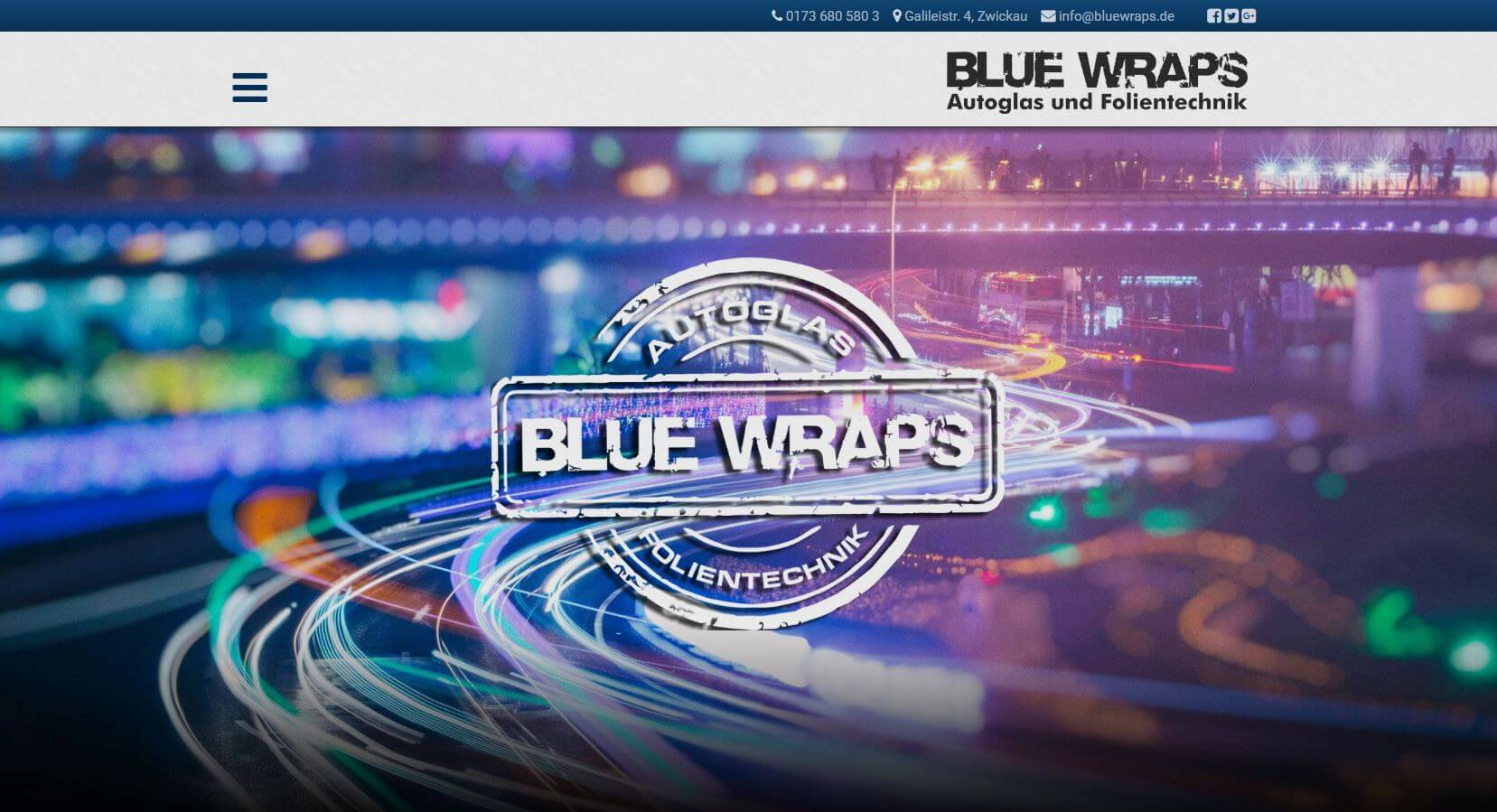 Screenshot Blue Wars Autoglas und Folientechnik