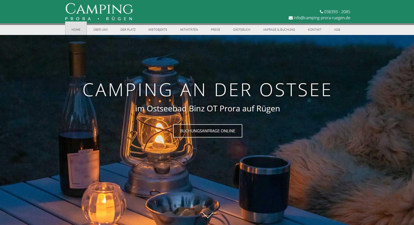 Homepage Referenz Camping Prora Rügen